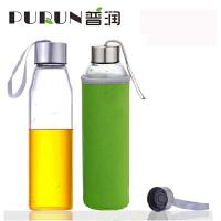 普润 550ML玻璃水瓶创意车载玻璃杯子矿泉水瓶带盖茶杯PRB15绿色