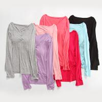 懒人专用 带胸罩长袖 免文胸罩莫代尔T恤 女瑜伽运动打底衫