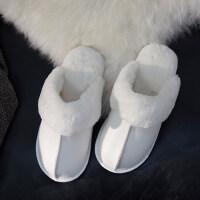 棉拖鞋女居家厚底情侣保暖防滑室内防水毛绒皮拖鞋男
