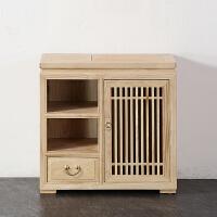 中式禅意茶水柜白蜡木水桶柜实木茶边柜矮柜茶水台茶室家具定制 单门
