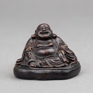 C543清《竹雕弥勒佛》(弥勒佛整体竹刻而成,造型规整,神态端详,包浆老到,值得收藏。)