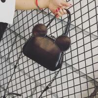 新款真皮女包唐嫣同款米奇米老鼠耳朵包单肩斜跨链条包手提包