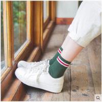 袜子女秋冬纯棉中筒袜复古麻花纹女袜二杠条纹短袜日系袜 堆堆袜