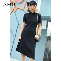 Amii极简chic港风设计感连衣裙2018夏季新款不对称全棉短袖中长裙