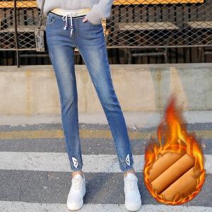 冬季新款松紧腰加绒牛仔裤女蝴蝶大码裤小脚长裤显瘦加厚潮
