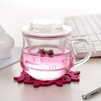 耐�岵AП�三件式花茶杯��意茶杯 300ML���w玻璃小草帽水杯小�m雅茶杯�k公杯 水杯杯子玻璃�w子