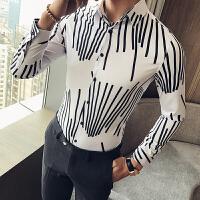 衬衫男长袖修身韩版衬衣休闲男士潮流百搭发型师个性寸衣