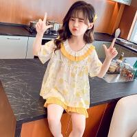 夏季薄款儿童家居服短袖空调服女孩睡衣中大童套装