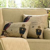 奇居良品美式沙发床头靠垫套抱枕套方枕腰枕  两件套