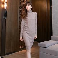 羊毛针织连衣裙冬中长款羊绒衫女高领套头毛衣裙长袖保暖打底修身