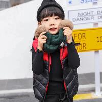 乌龟先森 儿童皮草马甲 女童冬季新款韩版学生加绒保暖休闲毛绒上衣外套中大童时尚女孩纯色潮范童装