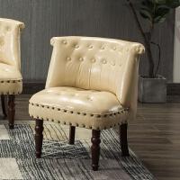 欧式复古美式沙发单人双三人小户型沙发椅卧室服装店酒吧布艺沙发 奶白 油蜡皮