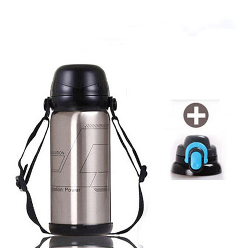 普润 800ml银色 真空不锈钢运动水壶 户外运动保温杯 随身多用壶