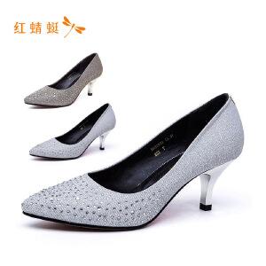 【专柜正品】红蜻蜓尖头亮面水钻细高跟时尚女单鞋