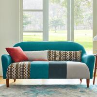新款拼色小户型日式田园创意单人双人三人座北欧客厅书房布艺沙发 湖蓝拼色 三人