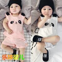 婴儿夏季套装背心+短裤全纯棉新生儿居家服无袖裤子可开档0-1-2岁