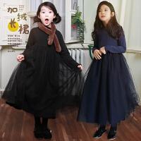 女童公主裙2017冬装韩版中大童加绒加厚连衣裙儿童蕾丝网纱长裙子