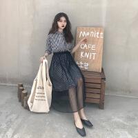夏装女装两件套裙子学生韩版格子收腰显瘦短袖连衣裙+网纱半身裙