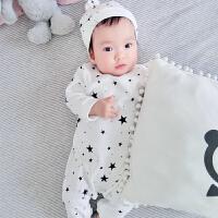婴儿连体衣服新生儿宝宝冬季满月0岁3个月季5冬装装睡衣