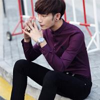 气质春秋夜店男士衬衫纯色长袖休闲商务衬衫修身英伦品质衬衣男