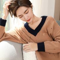 修身针织打底羊毛衫秋冬季新款加厚V领女毛衣套头短款羊绒衫