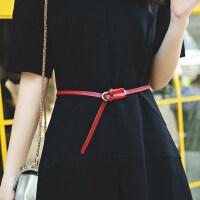 真皮装饰简约百搭时尚女式ulzzang连衣裙牛皮细皮带小腰带女