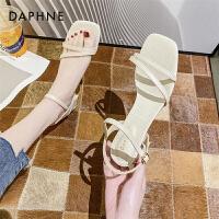 达芙妮2021新款夏季仙女风粗跟时装一字带百搭罗马高跟凉鞋女