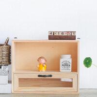 遥控器收纳盒 创意实木抽屉式桌面收纳盒置物架办公桌面储物整理盒遥控器收纳盒