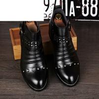 欧美潮男马丁靴男短靴复古尖头男靴子英伦高帮皮鞋铆钉增高工装靴