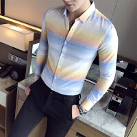 秋季男士修身长袖衬衫发型师时尚休闲条纹衬衣夜店个性潮流花寸衫