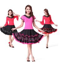 广场舞服装新款套装演出服女上衣短袖舞蹈服 拉丁舞成人女跳舞 裙子