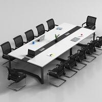 办公家具会议桌长桌简约现代会议室洽谈桌椅组合办公桌长方形钢架