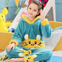 秋冬季儿童睡衣法兰绒女童女孩加厚款中大童宝宝家居服珊瑚绒套装