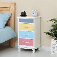 【满减优惠】简约北欧式床头柜实木收纳柜经济型卧室床边柜小斗柜创意彩色边柜