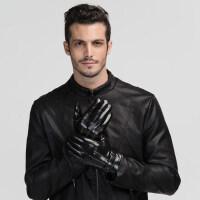 韩版皮手套男冬骑车摩托车男士防水防风加绒加厚皮保暖手套