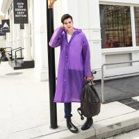 强迪便携雨披半透明雨衣成人旅游雨衣风衣式雨披 EVA环保雨衣厚款 紫色