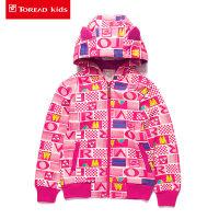 探路者童装 冬季旅行大字母印花卫衣 男女童连帽卫衣外套