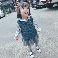 定制儿童春装新款宝宝纯棉毛线马甲保暖女童针织背心