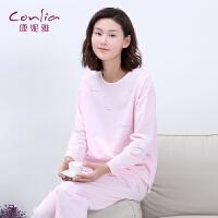 康妮雅女士2017春季新款圆领套头简约休闲长袖睡衣薄款套装