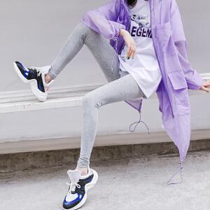 七格格夏季打底裤外穿女薄百搭2018新款弹力魔术高腰安全裤紧身黑色裤子