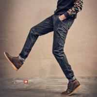 春季日系复古男士牛仔裤男青年须韩版小脚裤夏天潮男装修身长裤