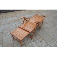 竹躺椅可折叠椅子家用午休椅午睡椅凉椅老人休闲逍遥椅实木靠背椅 整板平躺椅 不带垫子