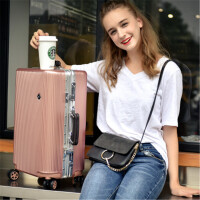 白领抗压铝框拉杆箱万向轮旅行箱女皮箱密码箱登机箱子箱包行李箱 白领铝框 玫瑰金色