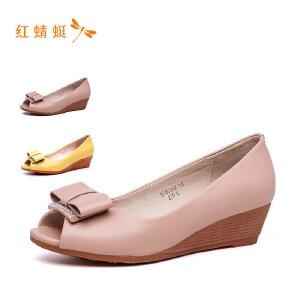 红蜻蜓2018新款平跟纯色单鞋女