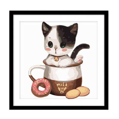 装饰画diy数字油画 动漫卡通动物大幅手绘画 萌宠茶杯猫系列