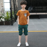 童装男童套装夏装2018新款儿童夏季中大童男孩韩版短袖两件套潮衣