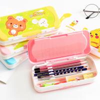 多功能可爱文具盒儿童三层铅笔盒小学生幼儿园10岁1-3年级男女孩塑料笔盒韩国风创意3-5年级