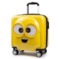 儿童旅行箱万向轮小黄人拉杆箱18寸可爱登机皮箱密码箱行李箱20寸 柠檬黄 (3D立体) 18寸 赠三副表情 可登机
