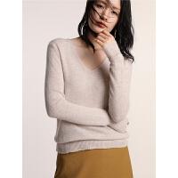 显瘦纯色长袖针织衫秋冬新款V领羊绒衫女套头宽松毛衣短款打底衫