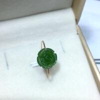14k包金戒指天然和田玉碧玉玫瑰花